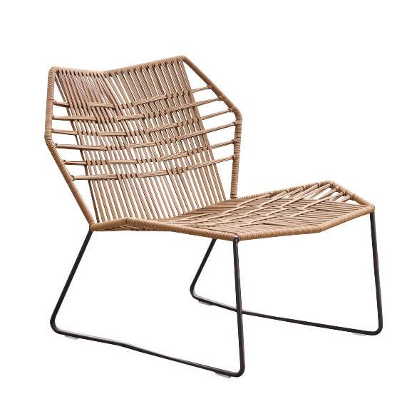 MOROSO fauteuil avec structure laqué TROPICALIA (Faux cuir / Base noire - technoploymère et acier)