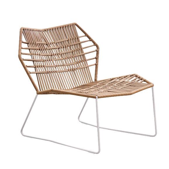 MOROSO fauteuil avec structure laqué TROPICALIA (Faux cuir / Base blanche - technoploymère et acier)