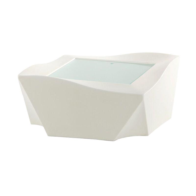 SLIDE table basse lumineuse pour extérieur KAMI NI (Blanc - polyéthylène et plateau en verre traité à l'acide)
