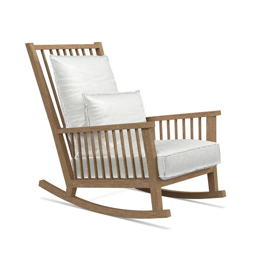 GERVASONI fauteuil à bascule pour extérieur INOUT 709 (Tissu blanc - chêne blanchi)