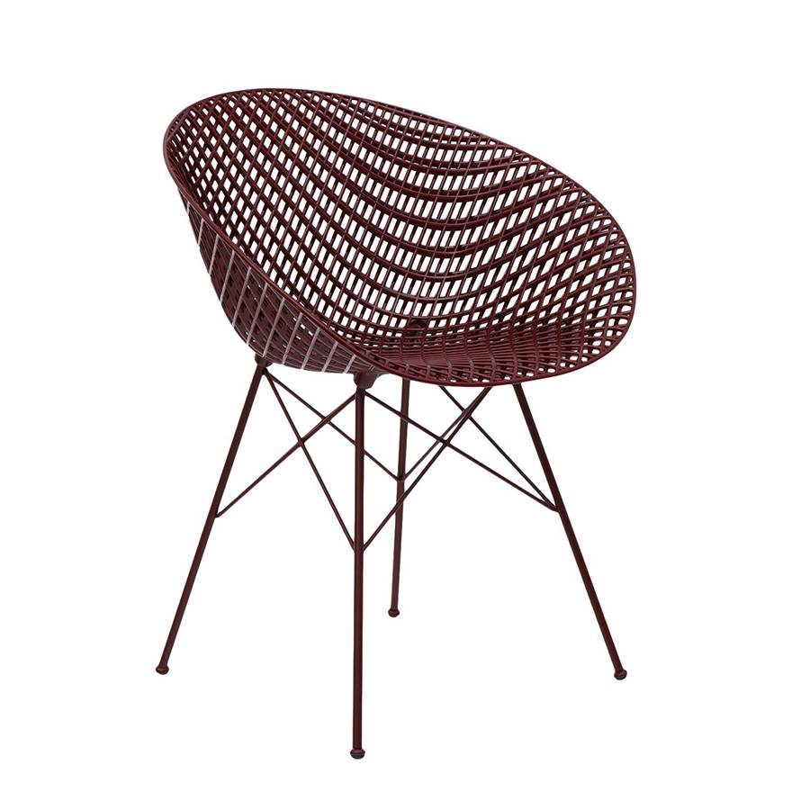 KARTELL chaise pour extérieur SMATRIK (Prune / Prune - polycarbonate coloré dans la masse et acier inox verni)