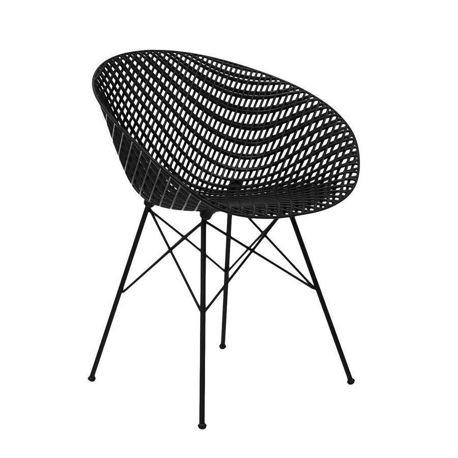 KARTELL chaise pour extérieur SMATRIK (noir / noir - polycarbonate coloré dans la masse et acier inox verni)