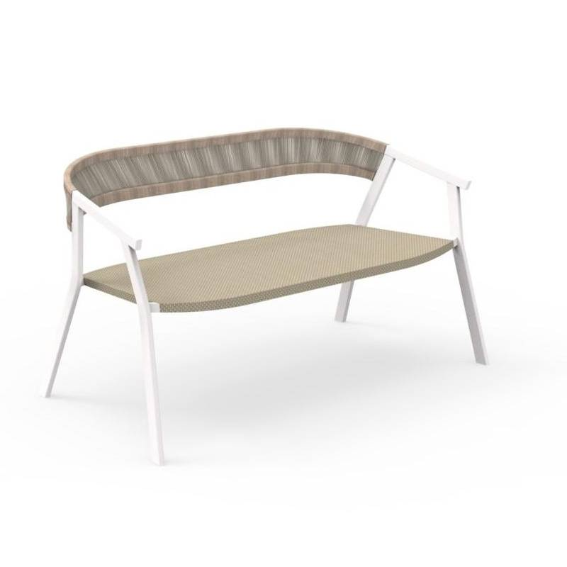 TALENTI canapé d'extérieur KEY Collection PiùTrentanove (White / Dove - Aluminium peint et cordes synthétiques)