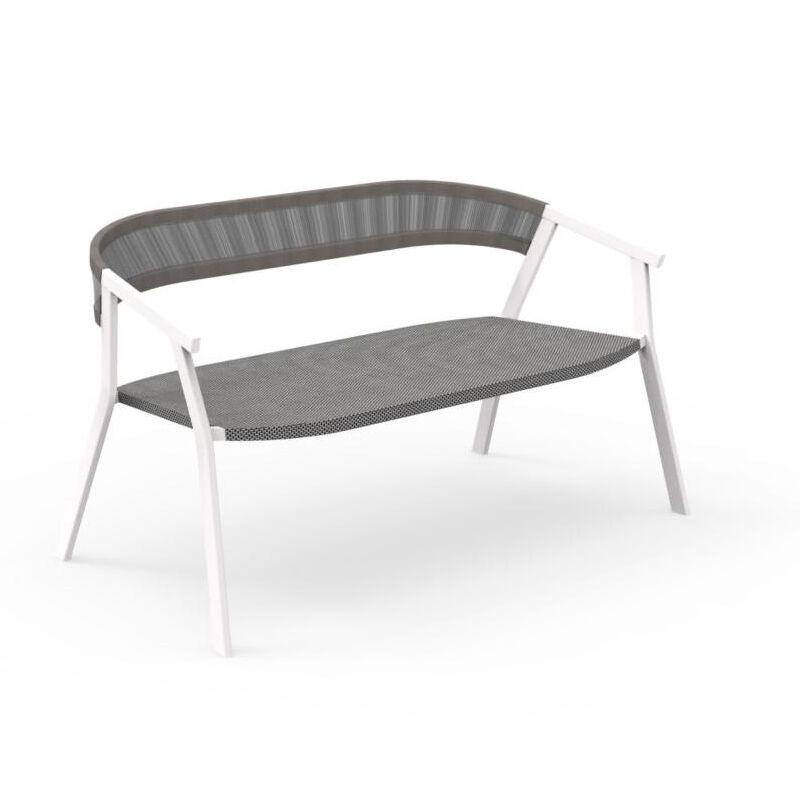 TALENTI canapé d'extérieur KEY Collection PiùTrentanove (White / Silver black - Aluminium peint et cordes synthétiques)