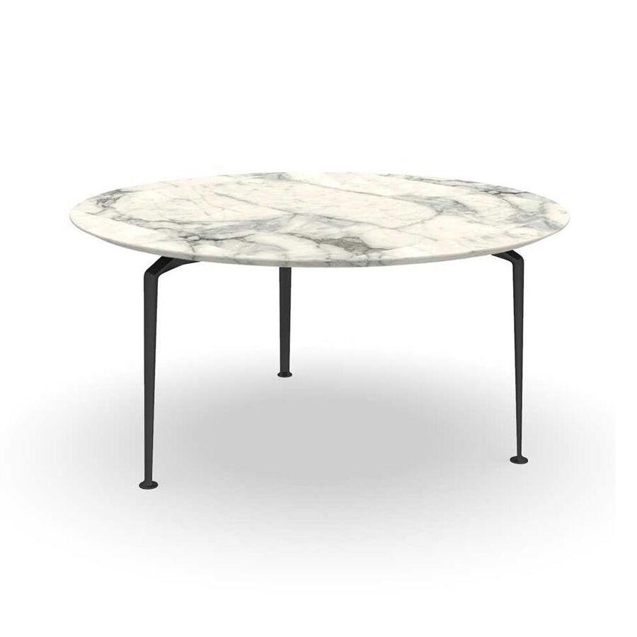 TALENTI table d'extérieur ronde Ø 150 cm CRUISE ALU Collection Icon (Graphite - Grès Calacatta, aluminium peint)