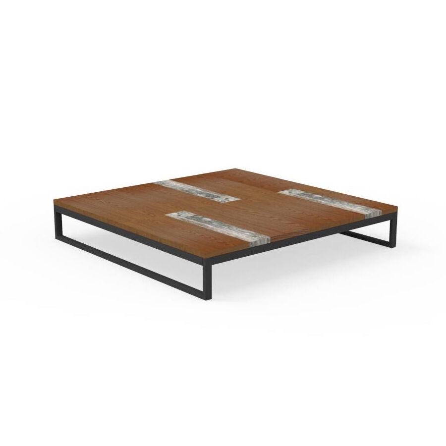 TALENTI table basse 100x100 cm d'extérieur CASILDA Collezione Icon (Graphite - Acier peint, bois de pierre et travertin de titane)