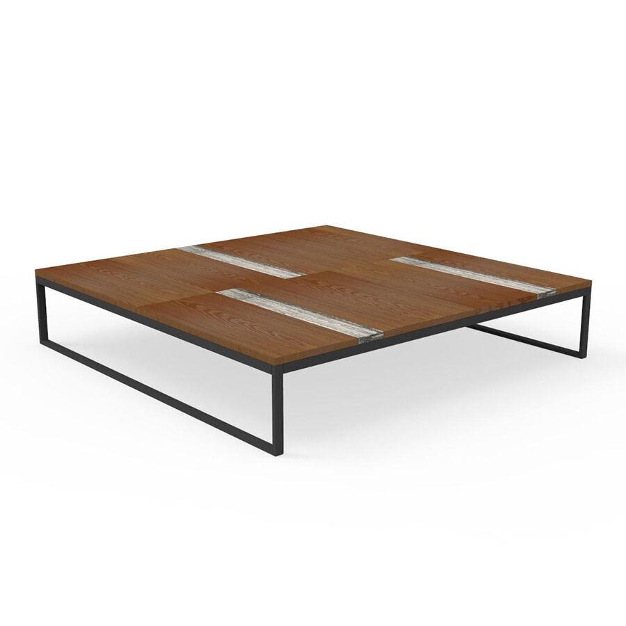 TALENTI table basse 140x140 cm d'extérieur CASILDA Collezione Icon (Graphite - Acier peint, bois de pierre et travertin de titane)