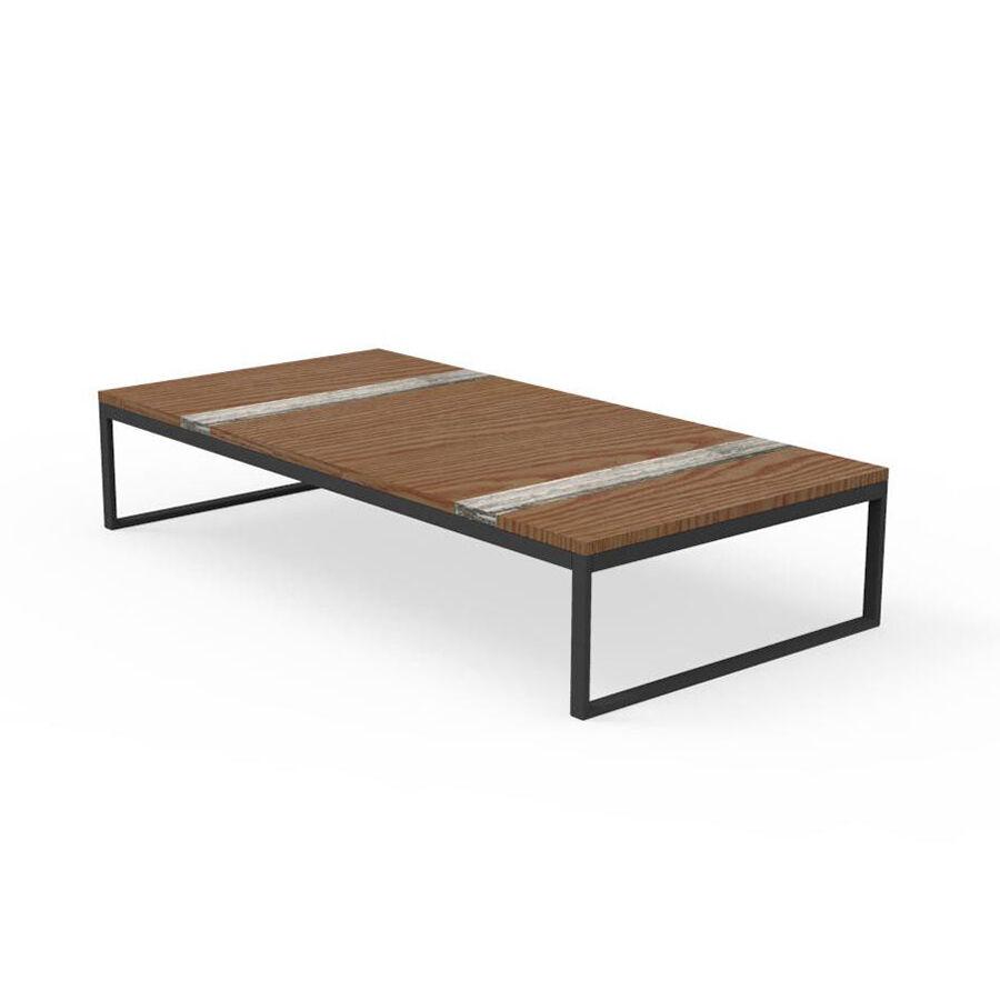 TALENTI table basse 140x70 cm d'extérieur CASILDA Collezione Icon (Graphite - Acier peint, bois de pierre et travertin de titane)