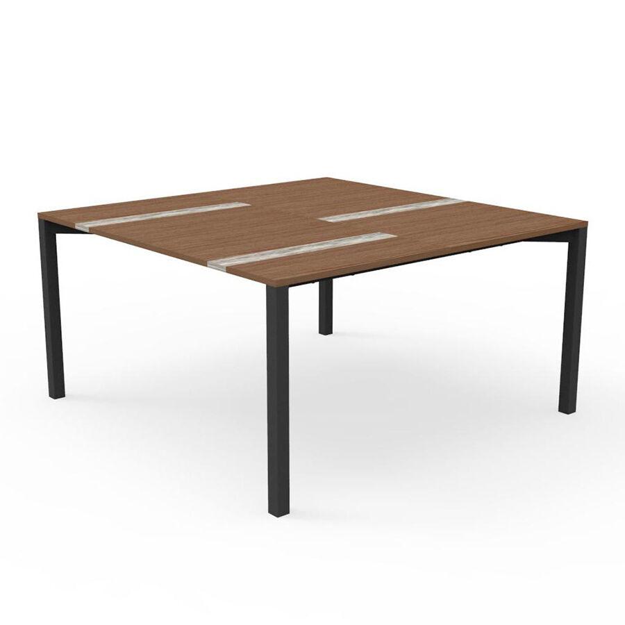 TALENTI table 150x150 cm d'extérieur CASILDA Collezione Icon (Graphite - Acier peint, bois de pierre et travertin de titane)