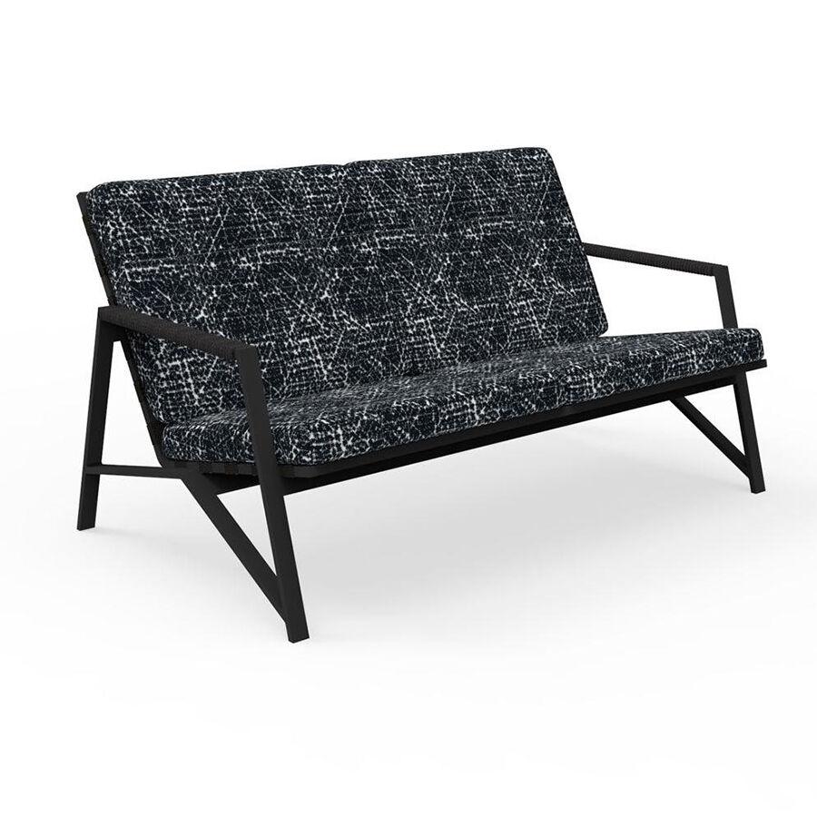 TALENTI canapé à 2 places d'extérieur COTTAGE Collection Icon (Graphite / Black abstract - Tissu et aluminium peint)