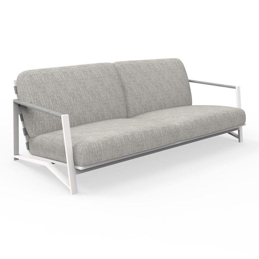 TALENTI canapé luxury à 2 places d'extérieur COTTAGE Collection Icon (White / Light grey - Tissu et aluminium peint)