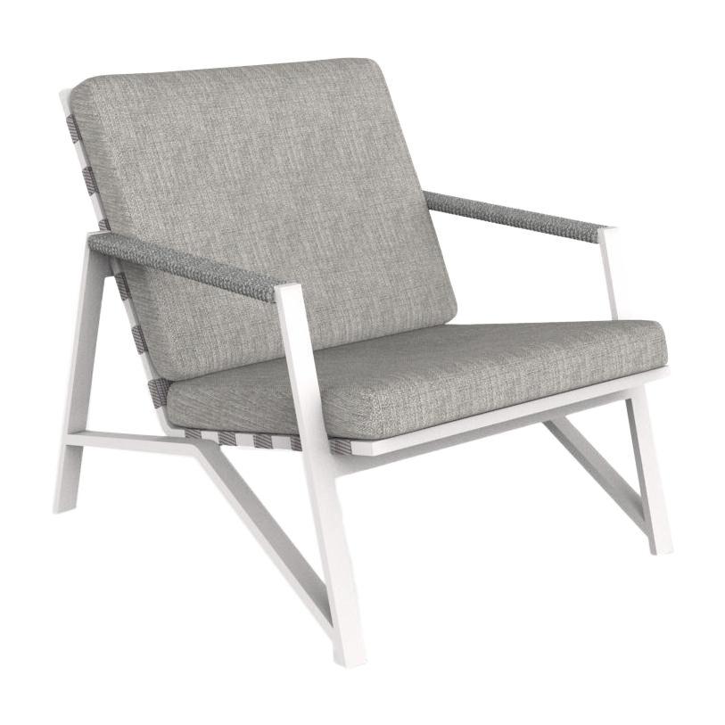 TALENTI fauteuil d'extérieur COTTAGE Collection Icon (White / Light grey - Tissu et aluminium peint)