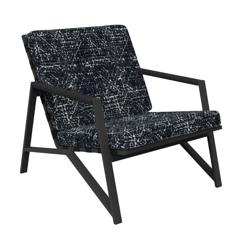 TALENTI fauteuil d'extérieur COTTAGE Collection Icon (Graphite / Black abstract - Tissu et aluminium peint)