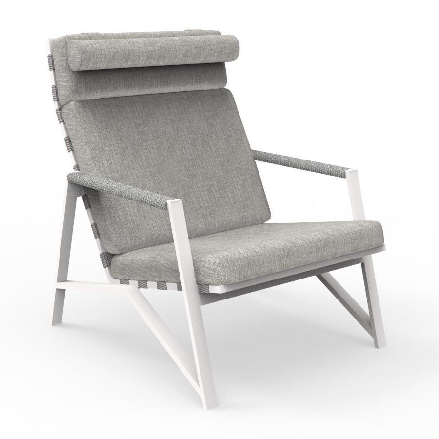 TALENTI fauteuil lounge d'extérieur COTTAGE Collection Icon (White / Light grey - Tissu et aluminium peint)