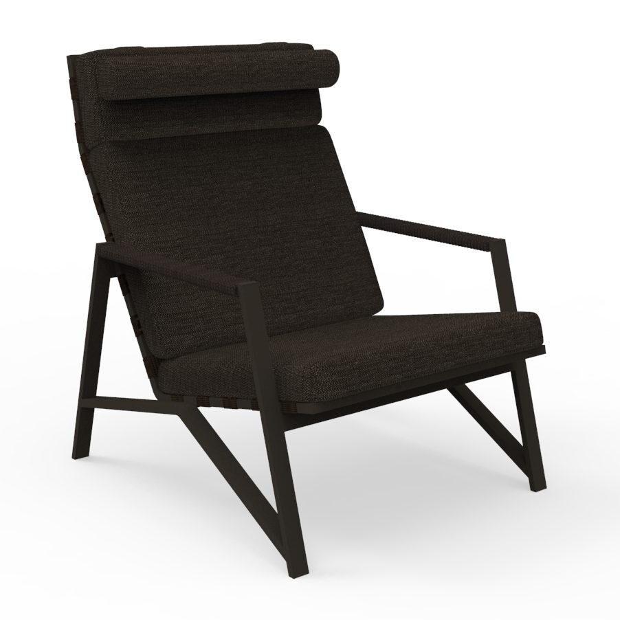 TALENTI fauteuil lounge d'extérieur COTTAGE Collection Icon (Mokka / Dark brown - Tissu et aluminium peint)