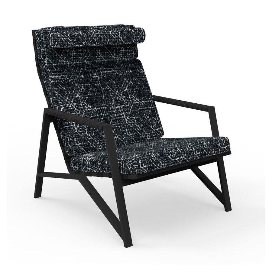TALENTI fauteuil lounge d'extérieur COTTAGE Collection Icon (Graphite / Black abstract - Tissu et aluminium peint)