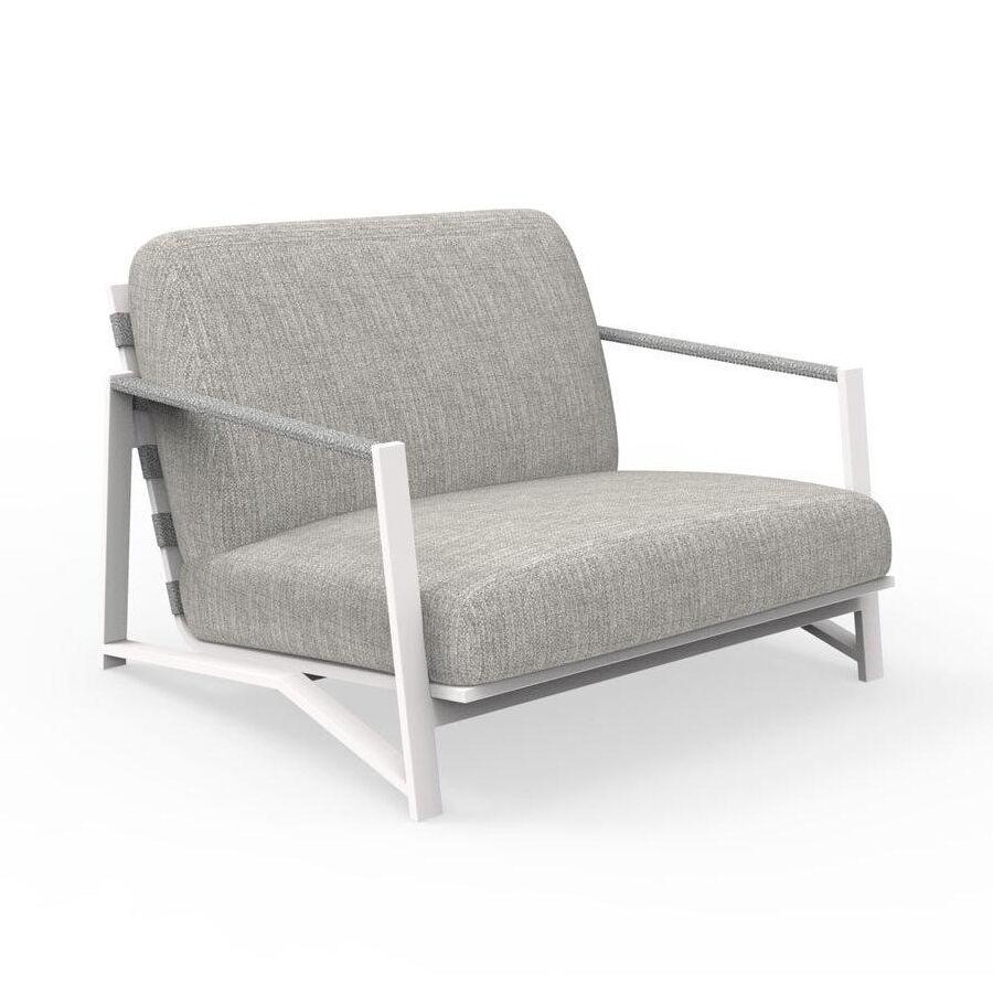 TALENTI fauteuil luxury d'extérieur COTTAGE Collection Icon (White / Light grey - Tissu et aluminium peint)