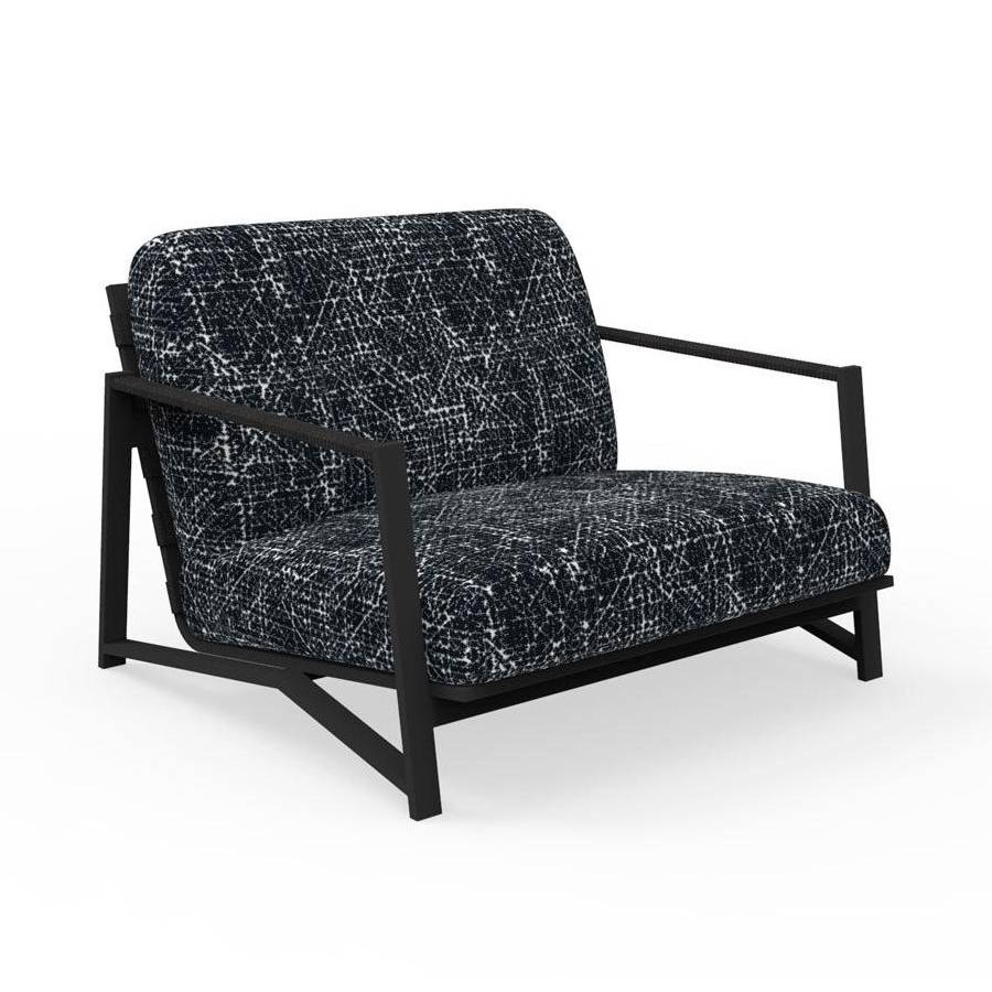 TALENTI fauteuil luxury d'extérieur COTTAGE Collection Icon (Graphite / Black abstract - Tissu et aluminium peint)