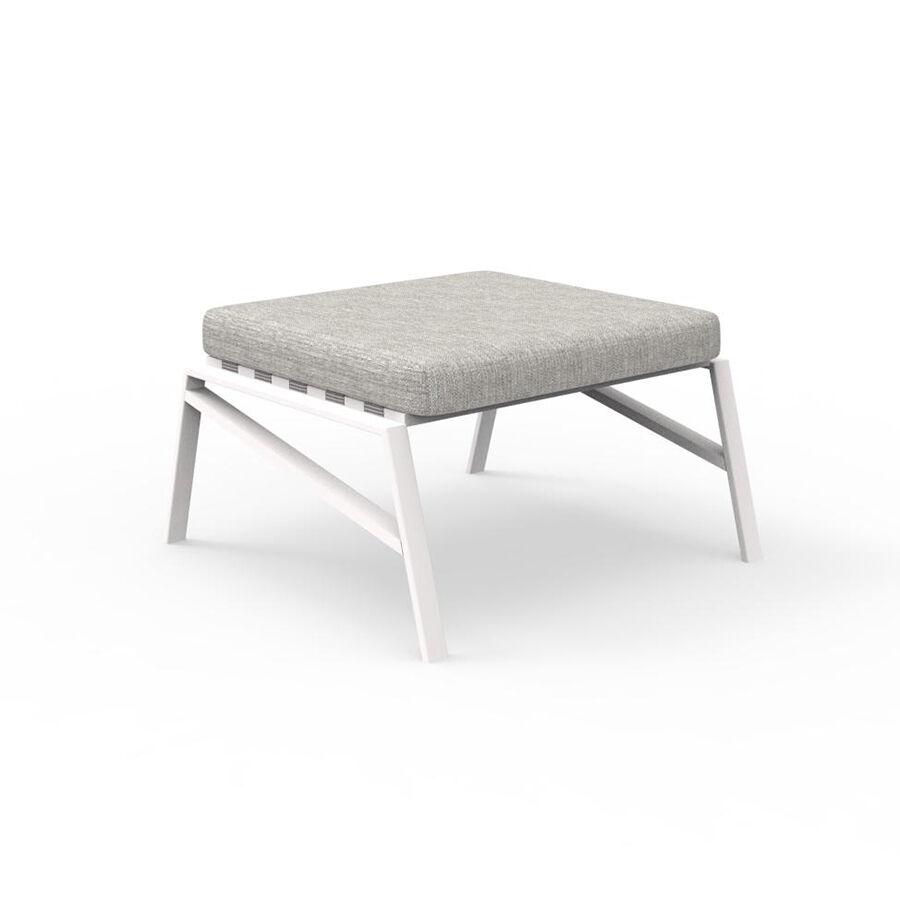 TALENTI pouf repose-pied d'extérieur COTTAGE Collection Icon (White / Light grey - Tissu et aluminium peint)