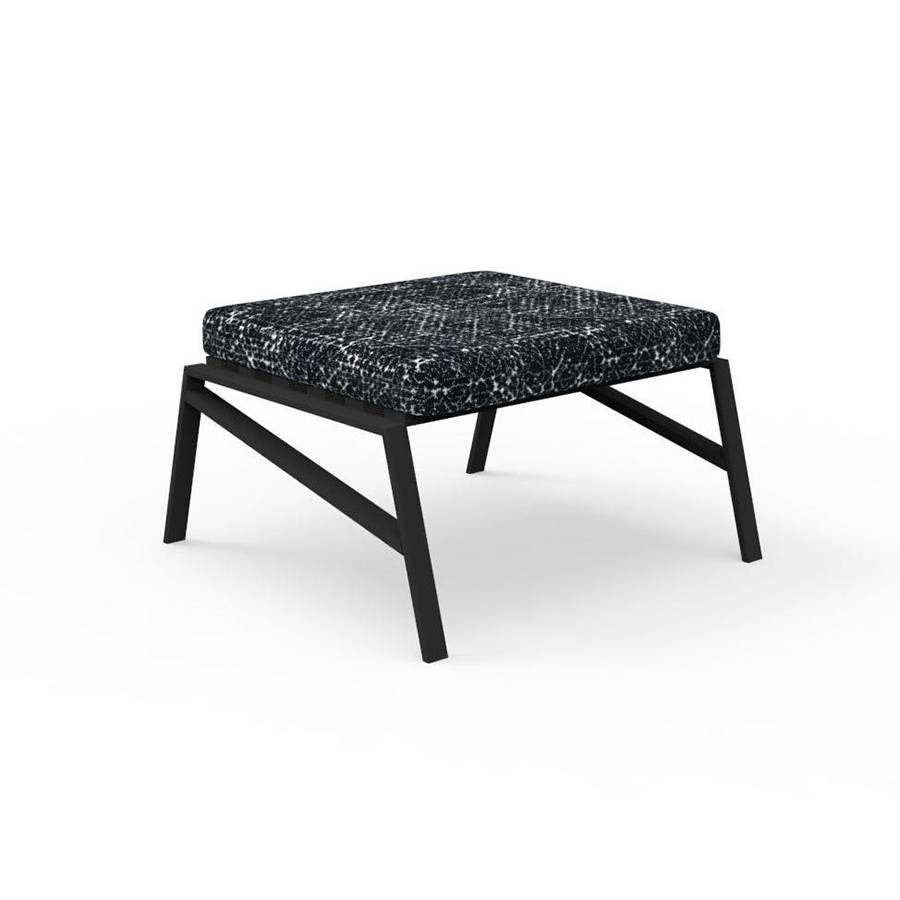 TALENTI pouf repose-pied d'extérieur COTTAGE Collection Icon (Graphite / Black abstract - Tissu et aluminium peint)