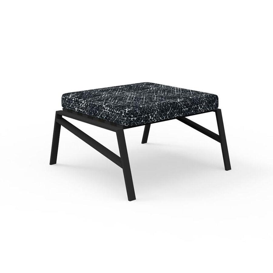 TALENTI pouf repose-pied d'extérieur COTTAGE Collection Icon (Graphite / Black abstract - Tissu et aluminium peint)