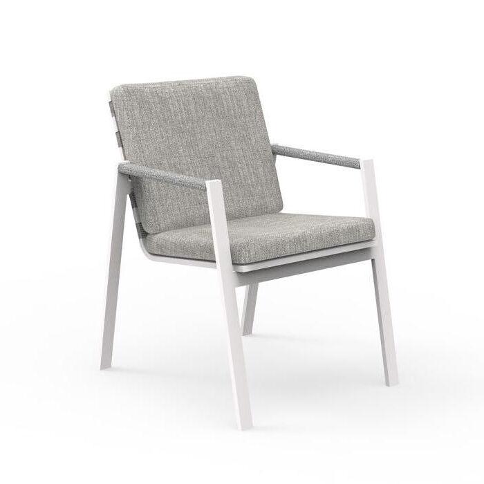 TALENTI set de 4 chaises avec accoudoirs d'extérieur COTTAGE Collection Icon (White / Light grey - Tissu et aluminium peint)