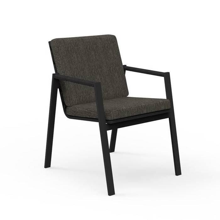 TALENTI set de 4 chaises avec accoudoirs d'extérieur COTTAGE Collection Icon (Graphite / Dark grey - Tissu et aluminium peint)