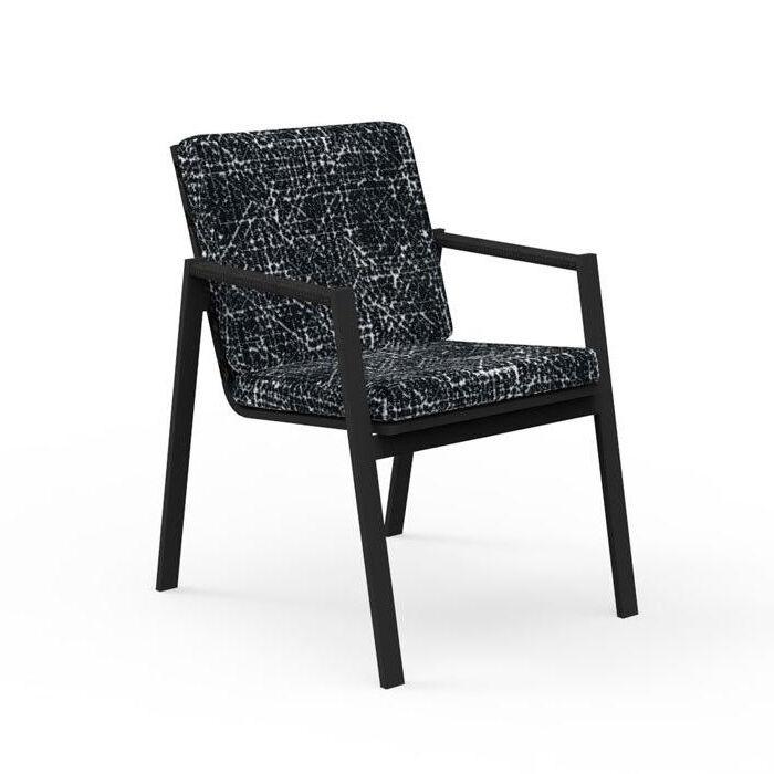 TALENTI set de 4 chaises avec accoudoirs d'extérieur COTTAGE Collection Icon (Graphite / Black abstract - Tissu et aluminium peint)