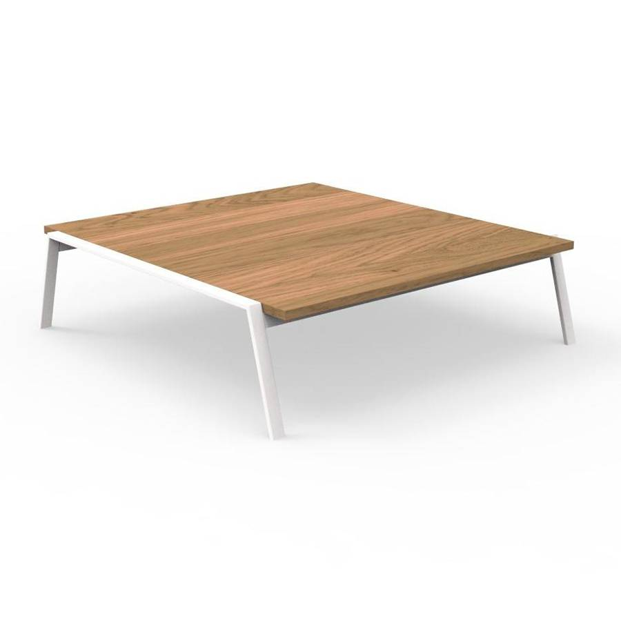 TALENTI table basse d'extérieur 120x120 cm COTTAGE Collection Icon (White - Iroko et aluminium peint)