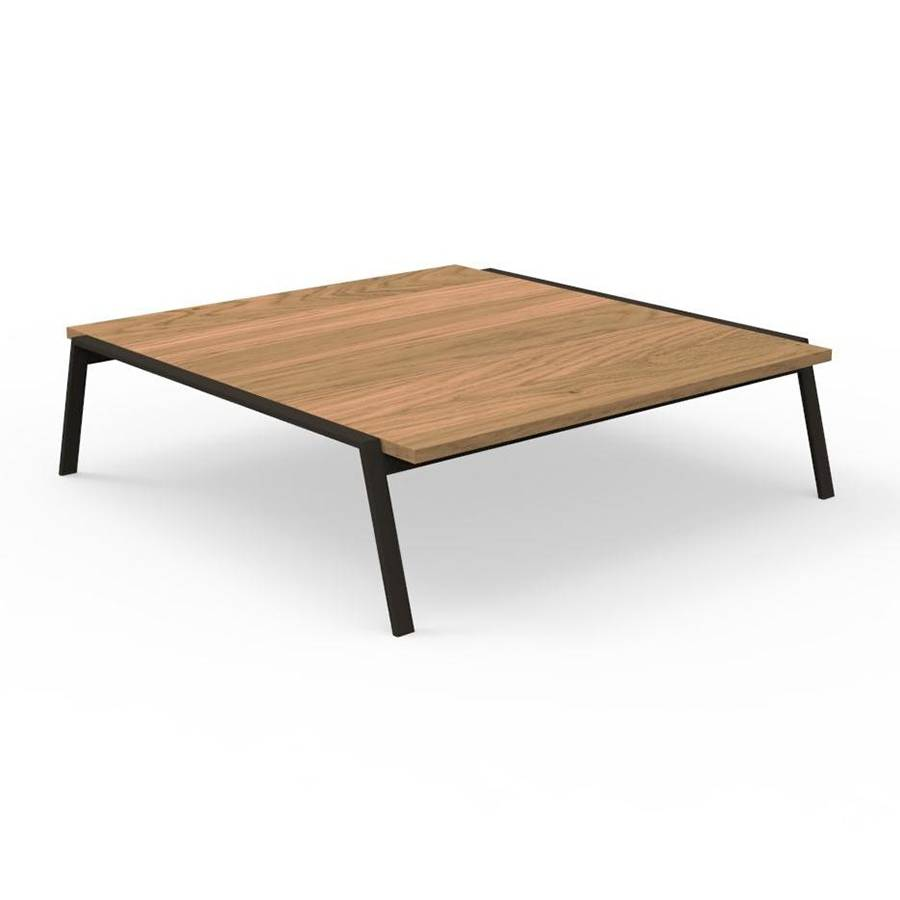 TALENTI table basse d'extérieur 120x120 cm COTTAGE Collection Icon (Mokka - Iroko et aluminium peint)