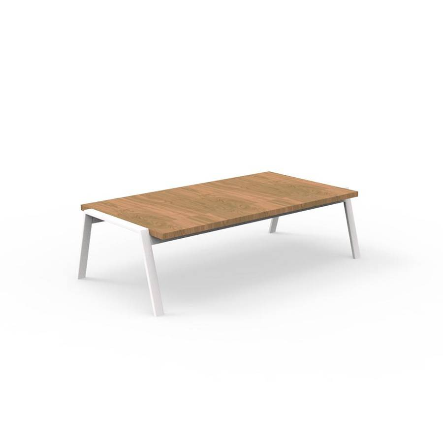 TALENTI table basse d'extérieur 120x60 cm COTTAGE Collection Icon (White - Iroko et aluminium peint)