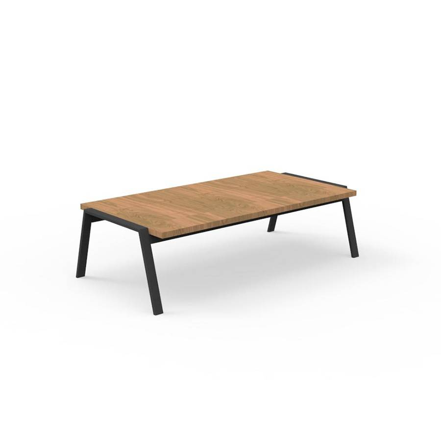 TALENTI table basse d'extérieur 120x60 cm COTTAGE Collection Icon (Graphite - Iroko et aluminium peint)