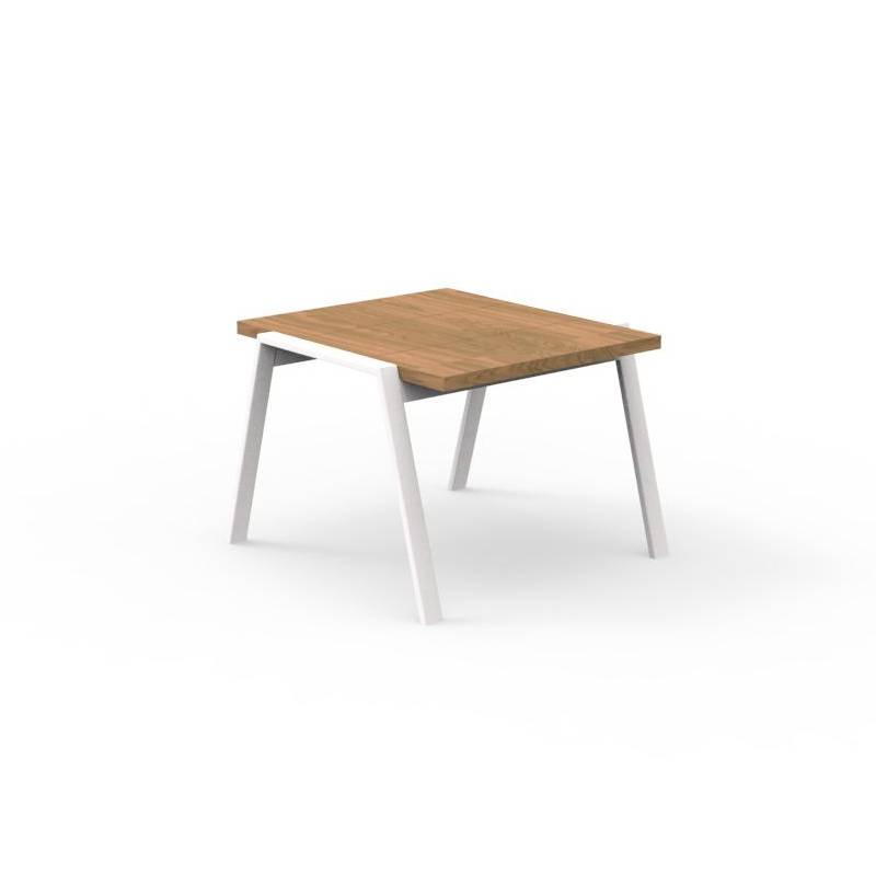 TALENTI table basse d'extérieur 60x60 cm COTTAGE Collection Icon (White - Iroko et aluminium peint)