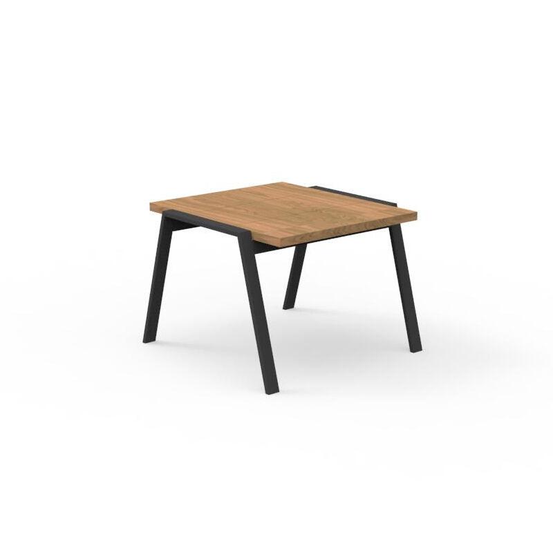 TALENTI table basse d'extérieur 60x60 cm COTTAGE Collection Icon (Graphite - Iroko et aluminium peint)