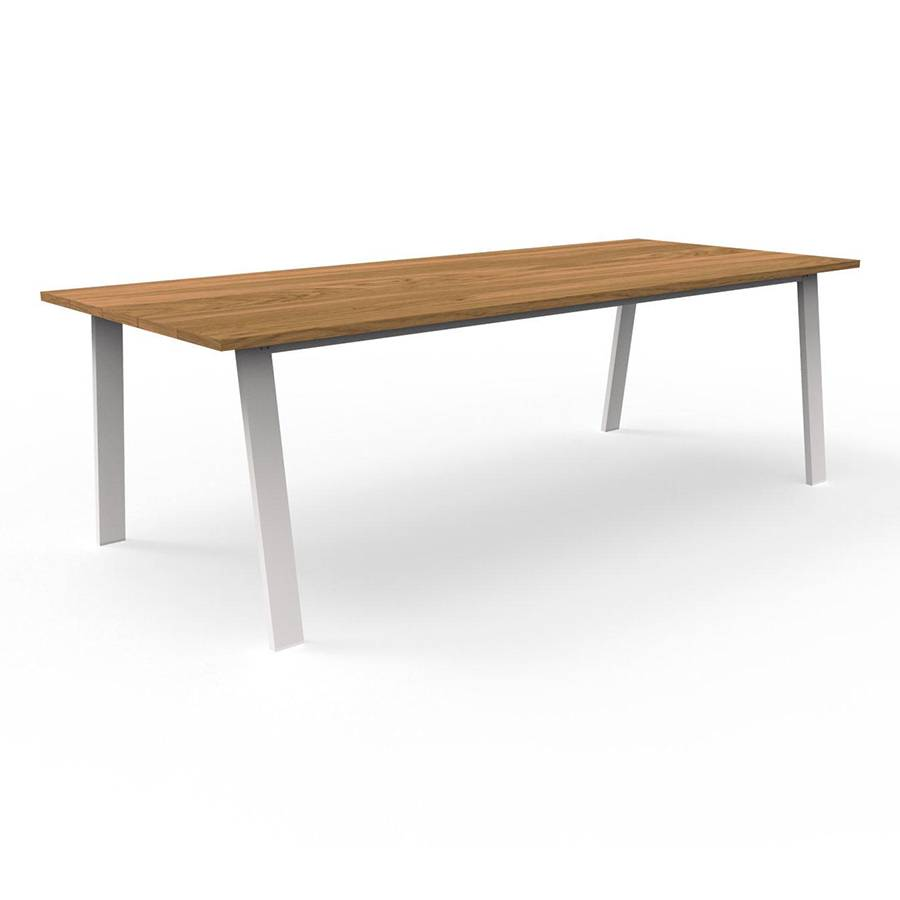 TALENTI table d'extérieur 240x110 cm COTTAGE Collection Icon (White - Iroko et aluminium peint)