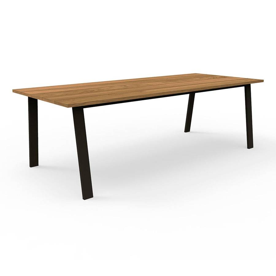 TALENTI table d'extérieur 240x110 cm COTTAGE Collection Icon (Graphite - Iroko et aluminium peint)