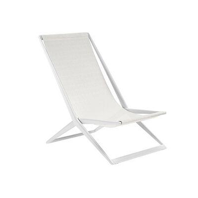 TRIBÙ transat chaise de plage d'extérieur BRANCH (Blanc - Aluminium et tissu Batyline)
