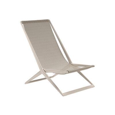 TRIBÙ transat chaise de plage d'extérieur BRANCH (Lin - Aluminium et tissu Batyline)