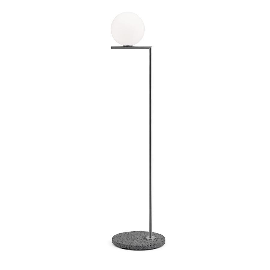 FLOS lampadaire d'extérieur IC F1 OUTDOOR (Acier inoxydable, œil d'oiseau - Verre soufflé, métal et marbre)