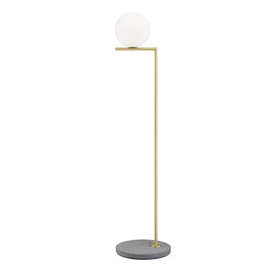 FLOS lampadaire d'extérieur IC F1 OUTDOOR (Laiton, gris lave - Verre soufflé, métal et marbre)