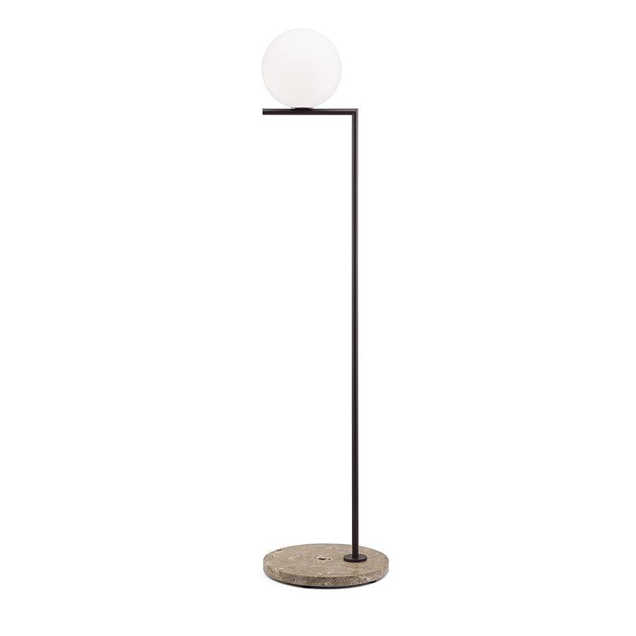 FLOS lampadaire d'extérieur IC F1 OUTDOOR (Marron foncé, travertin impérial - Verre soufflé, métal et marbre)