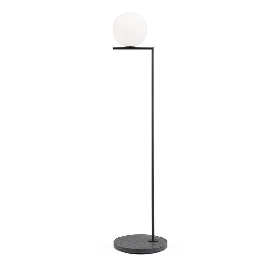 FLOS lampadaire d'extérieur IC F1 OUTDOOR (Noir, lave noir - Verre soufflé, métal et marbre)
