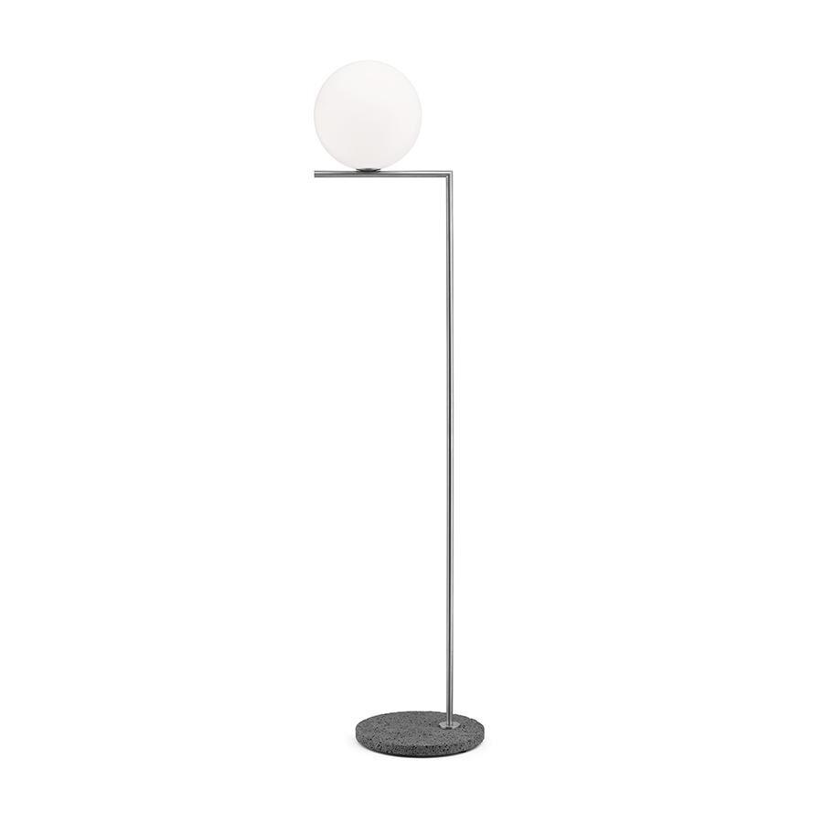 FLOS lampadaire d'extérieur IC F2 OUTDOOR (Acier inoxydable, œil d'oiseau - Verre soufflé, métal et marbre)