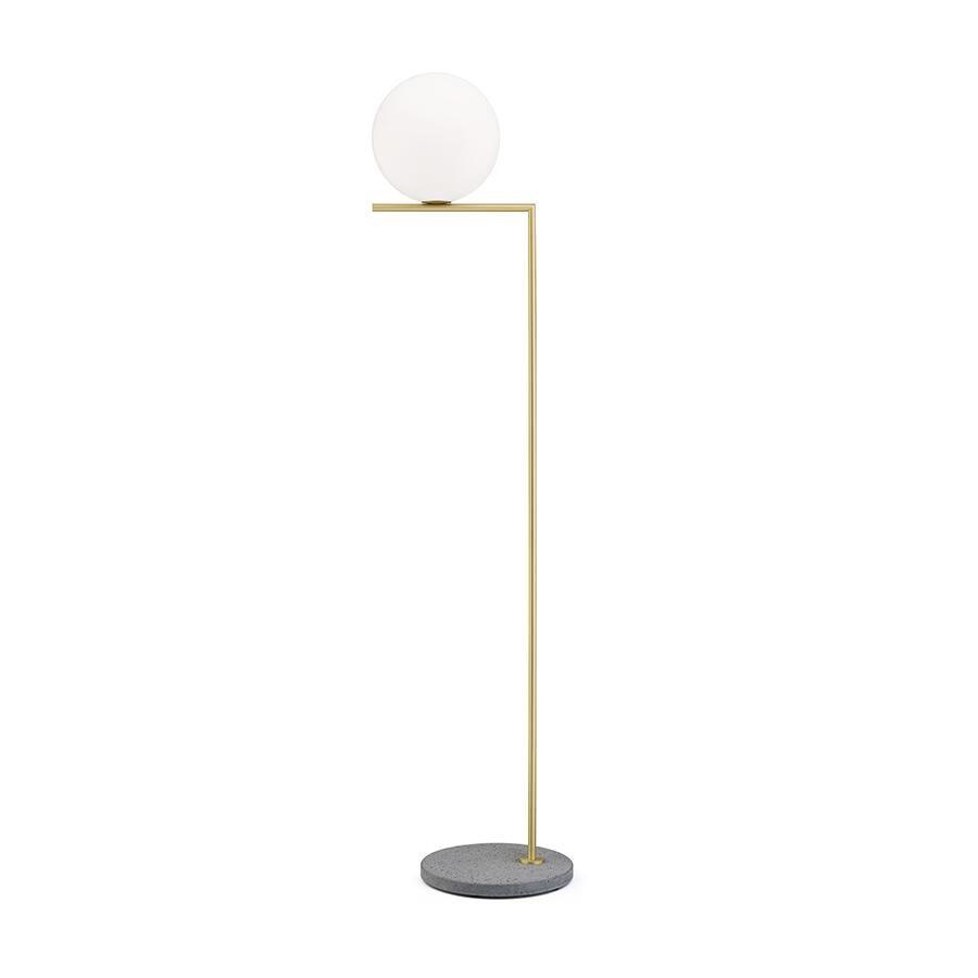 FLOS lampadaire d'extérieur IC F2 OUTDOOR (Laiton, gris lave - Verre soufflé, métal et marbre)