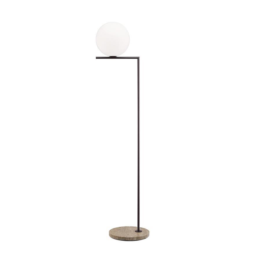 FLOS lampadaire d'extérieur IC F2 OUTDOOR (Marron foncé, travertin impérial - Verre soufflé, métal et marbre)