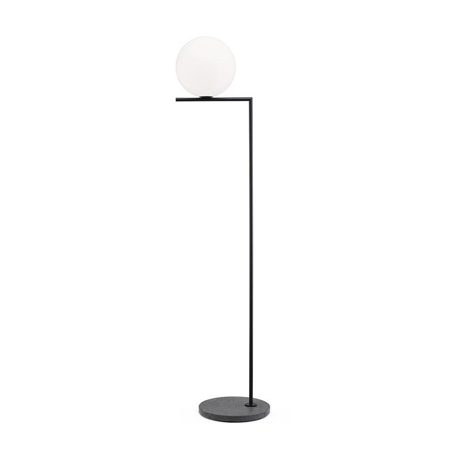 FLOS lampadaire d'extérieur IC F2 OUTDOOR (Noir, lave noir - Verre soufflé, métal et marbre)