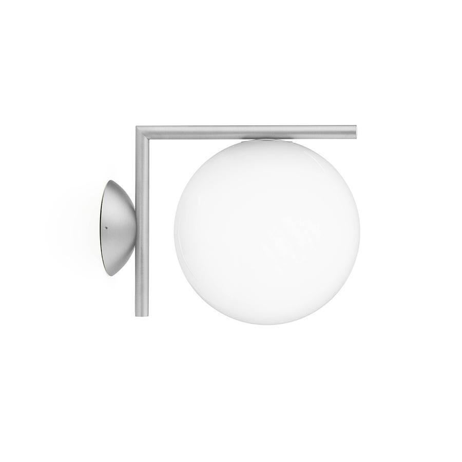 FLOS lampe murale ou au plafond d'extérieur IC C/W1 OUTDOOR (Acier inox - Verre soufflé et métal)