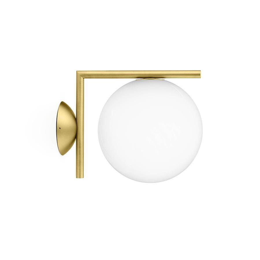 FLOS lampe murale ou au plafond d'extérieur IC C/W1 OUTDOOR (Laiton - Verre soufflé et métal)