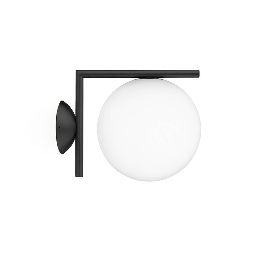 FLOS lampe murale ou au plafond d'extérieur IC C/W1 OUTDOOR (Noir - Verre soufflé et métal)