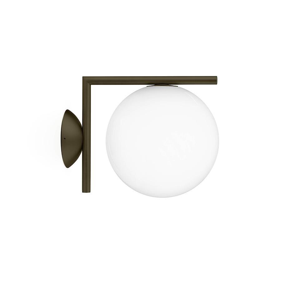 FLOS lampe murale ou au plafond d'extérieur IC C/W1 OUTDOOR (Marron foncé - Verre soufflé et métal)